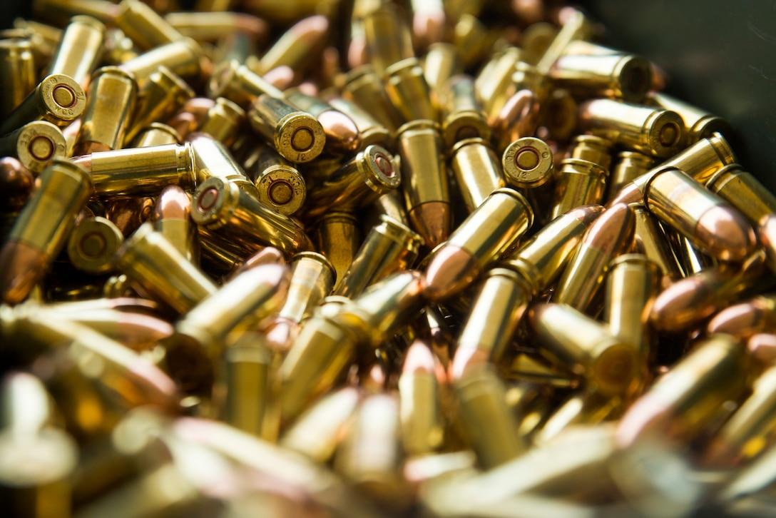 9 mm ammunition sits inside an ammunition canister during a live fire range at Camp Hansen, Okinawa, Japan, Jan. 10, 2019.