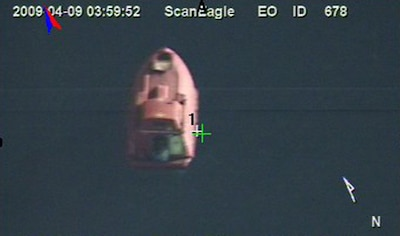 INDIAN OCEAN (April 9, 2009) In a still frame from video taken by the Scan Eagle unmanned aerial vehicle, a 28-foot lifeboat from the U.S.-flagged container ship Maersk Alabama is seen Thursday, April 9, 2009 in the Indian Ocean. (U.S. Navy Photo)