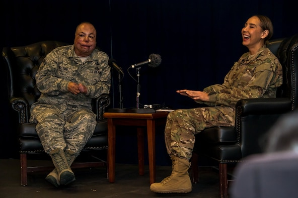 Maj. Anna Fedotova interviews Master Sgt. Israel Del Toro for her podcast, Blue Grit. The Blue Grit podcast, which is available on the Air Force Portal, features individuals with an Air Force connection who have overcome significant adversity. (U.S. Air Force photo by Van Ha)