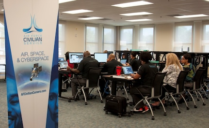 The Air Force Civilian Service's Talent Acquisition Division at the Air Force's Personnel Center, Joint Base San Antonio-Randolph, hosted an online virtual hiring event April 10, supporting Air Force Materiel Command's recruiting efforts. With nearly 400 vacancies, talent acquisition consultants partnered with AFMC hiring officials to fill positions with well-qualified individuals.