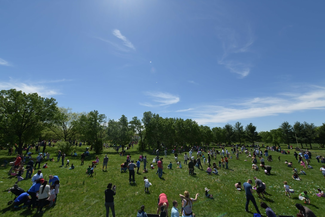 Families gather for the Bunnies and Eggs, egg hunt on Joint Base Andrews, Md., April 20, 2019.