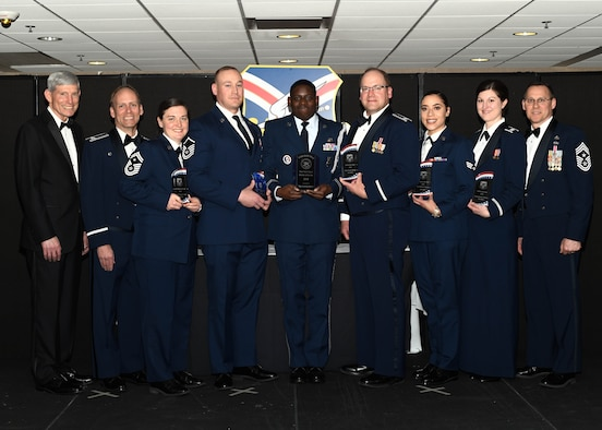 Award winners pose for a photo at the 910th Airlift Wing annual awards banquet here, April 6, 2019.