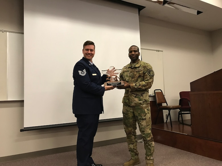 U.S. Air Force Tech. Sgt. Brian Wahl, 156th Airlift Squadron loadmaster, was awarded the prestigious Red Erwin Award for when he was deployed to Afghanistan in 2017 and served as an air advisor for the Afghanistan Air Force airdrop program.