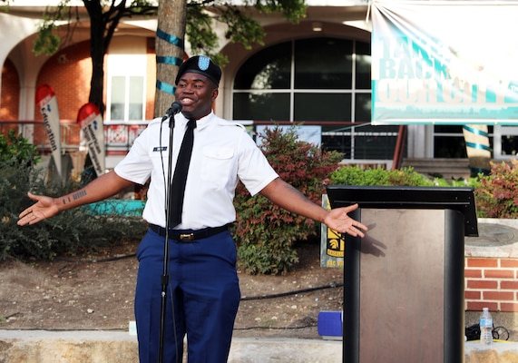 Pvt. De Andre Sisk presented his winning poem from the Joint Base San Antonio Poetry Slam April 11 at San Antonio College.