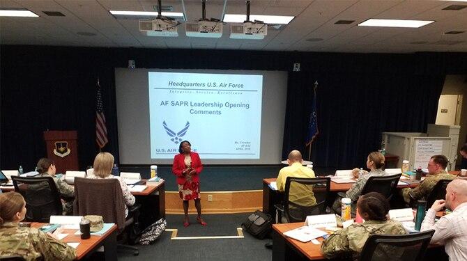 An image of Deputy Director of Air Force Resilience, Jiri Crowder teaching a class.