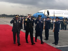 Navy Adm. Craig Faller arrives in Colombia for Multilateral Borders Conference 2019 with security officials from Brazil, Colombia, Ecuador and Peru.