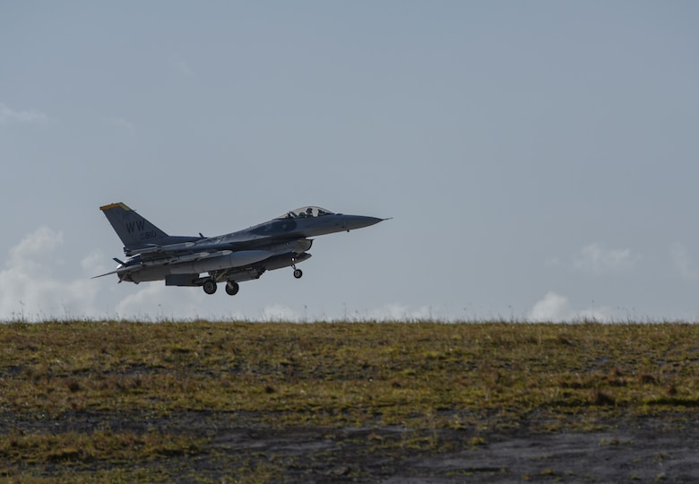 A U. S. Air Force F-16 Fighting Falcon assigned to the 35th Fighter Wing, Misawa Air Base, Japan lands at Andersen Air Force Base, Guam, April 22, 2019.