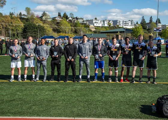 NAVAL STATION EVERETT, Wash.  (April 20, 2019) The All-Tournament Team of the 2019 Armed Forces Men's Soccer Championship held at Naval Station Everett, Wash. from 14-20 April, featuring Service members from the Army, Marine Corps, Navy (including Coast Guard) and Air Force. 