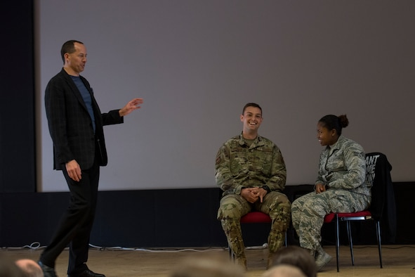 Mike Domitrz, Date Safe Project president, and two Airmen role play during a Sexual Assault Awareness and Prevention Month event April 15, 2019, at Incirlik Air Base, Turkey. The base held multiple awareness events throughout the month of April targeted educating Airmen on what to do instead of what not to do. (U.S. Air Force photo by Staff Sgt. Ceaira Tinsley)