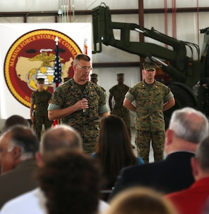 Col. Kipp Wahlgren, commanding officer, Marine Force Storage Command, addresses attendees observing MFSC's activation ceremony held aboard Marine Corps Logistics Base Albany, Ga., April 11.