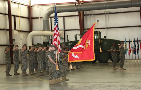 Marine Corps Logistics Command's Color Guard presents the colors during Marine Force Storage Command's activation ceremony held aboard Marine Corps Logistics Base Albany, Ga., April 11.
