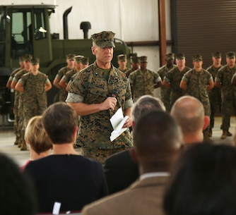 Brig. Gen. Joseph F. Shrader, commanding general, Marine Corps Logistics Command, addresses attendees observing MFSC's activation ceremony held aboard Marine Corps Logistics Base Albany, Ga., April 11.