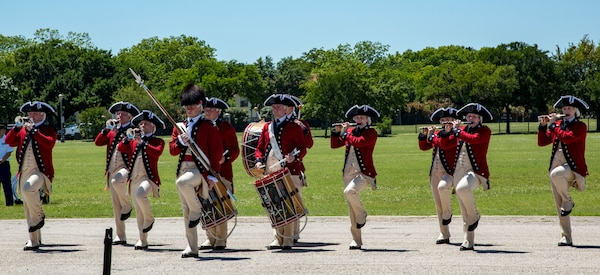The U.S. Army Old Guard Fife and Drum Corps perform April 20, 2019, at Joint Base San Antonio-Fort Sam Houston, Texas during the Fiesta and Fireworks Extravaganza. Fiesta honors the long-standing partnership between the U.S. military and San Antonio in annual Fiesta events, which commemorate Texas' independence after the Battle of San Jacinto and the Alamo.  (U.S. Air Force photo by Senior Airman Stormy Archer)