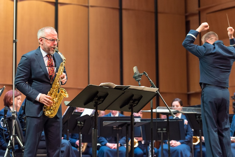 Internationally acclaimed saxophonist Joe Lulloff performs with the U.S. Air Force Concert Band on Thursday, Apr. 18, at the Rachel M. Schlesinger Concert Hall and Arts Center in Alexandria, Virginia. This concert was the final installment of The U.S. Air Force Band's 2019 Guest Artist Series. (U.S. Air Force photo by Master Sgt. Grant Langford)