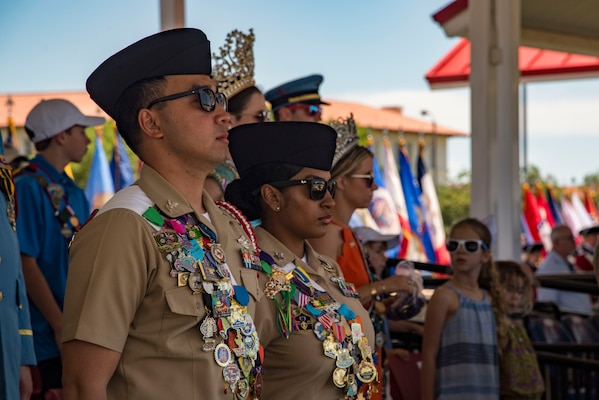 Joint Base San Antonio military ambassadors attend the Fiesta and Fireworks Extravaganza April 20, 2019, at Joint Base San Antonio-Fort Sam Houston, Texas. Fiesta honors the long-standing partnership between the U.S. military and San Antonio in annual Fiesta events, which commemorate Texas' independence after the Battle of San Jacinto and the Alamo.  (U.S. Air Force photo by Senior Airman Stormy Archer)
