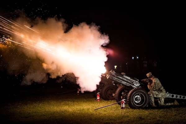 Soldiers fire an artillery barrage April 20, 2019, at Joint Base San Antonio-Fort Sam Houston, Texas during the Fiesta and Fireworks Extravaganza. Fiesta honors the long-standing partnership between the U.S. military and San Antonio in annual Fiesta events, which commemorate Texas' independence after the Battle of San Jacinto and the Alamo.  (U.S. Air Force photo by Senior Airman Stormy Archer)