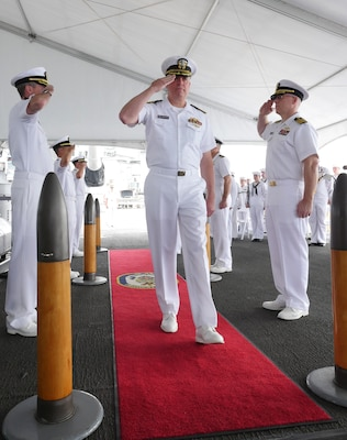 Capt. Timothy Halladay retired from the Navy after 30 years of service on March 23, 2019, onboard the USS Missouri (BB-63).