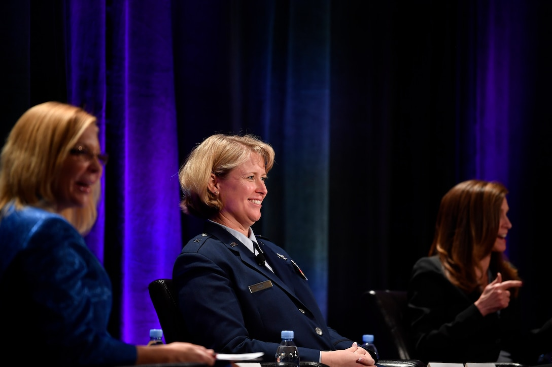 Brig. Gen. Deanna Burt, Director of Operations and Communications, Air Force Space Command, participates in a panel at the third Women's Global Gathering to discuss her struggles and successes navigating a career in which she was frequently the only woman in the room, Colorado Springs, Colorado, April 11, 2019.