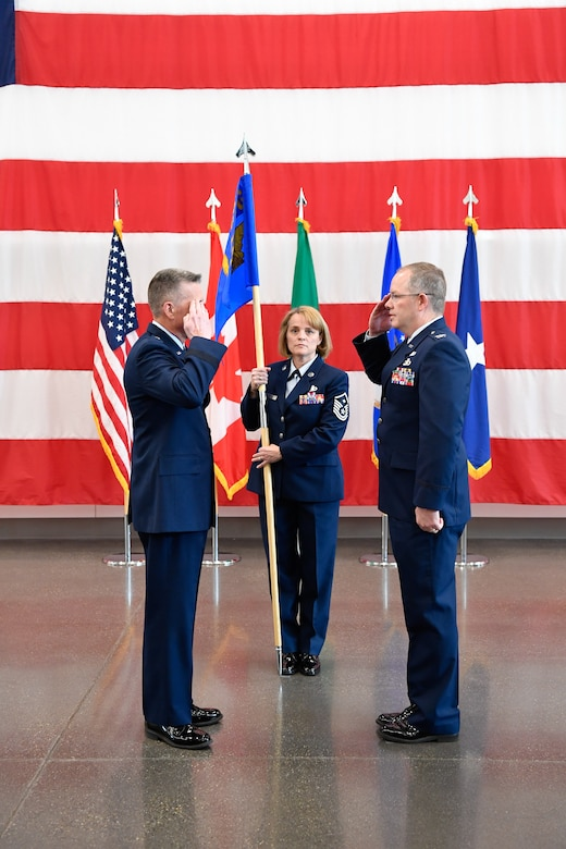 Brig. Gen. Jeremy Horn presides over the ceremony of Col. Scott Humphrey as he assumes command of the 225th Air Defense Group at the Pierce County Readiness Center, Camp Murray, Washington,  April 10, 2019. (U.S. Air National Guard photo by Capt. Colette Muller)