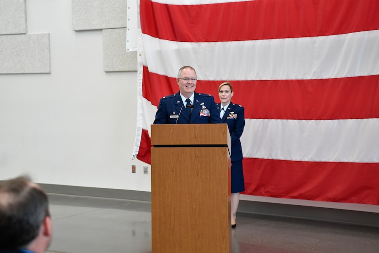 Col. Scott Humphrey addresses the members of the 225th Air Defense Group after assuming command at the Pierce County Readiness Center, Camp Murray, Washington, April 10, 2019. (U.S. Air National Guard photo by Capt. Colette Muller).