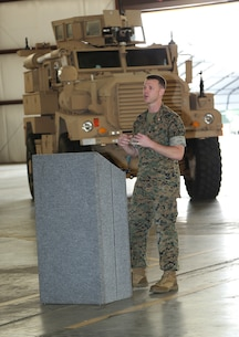 Maj. Jason J. Gates, operations officer, Marine Force Storage Command,  addresses family members, Marines and civilian-Marines during a ceremony held at the Building 1430 aboard Marine Corps Logistics Base Albany, Ga., April 19. Gates retired after 22 years of honorable service in the Marine Corps.