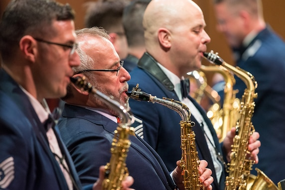 Internationally acclaimed saxophonist Joe Lulloff joins the saxophone section of the U.S. Air Force Concert Band on Thursday, Apr. 18, at the Rachel M. Schlesinger Concert Hall and Arts Center in Alexandria, Virginia. This concert was the final installment of The U.S. Air Force Band's 2019 Guest Artist Series. (U.S. Air Force photo by Master Sgt. Grant Langford)