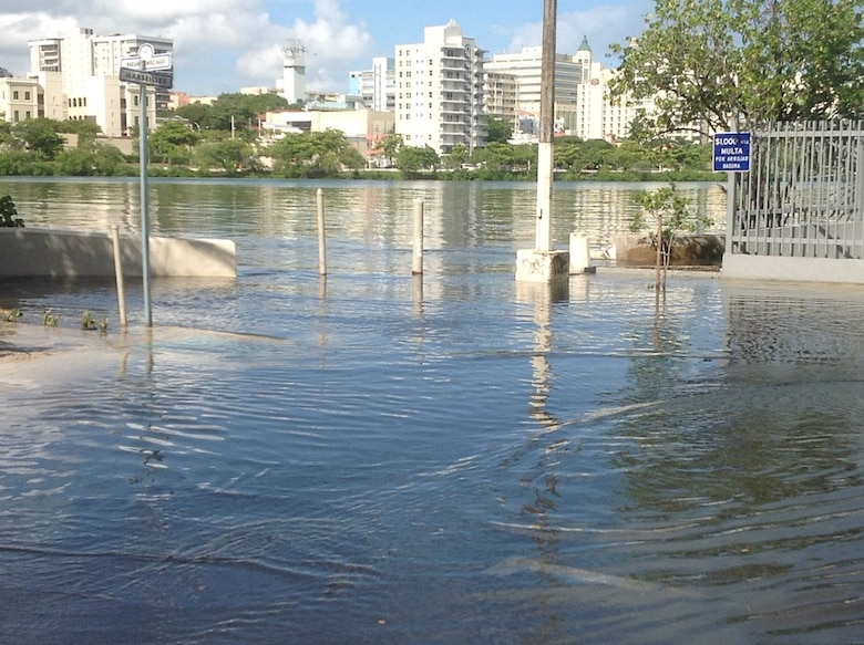 Flooded street connected to Condado lagoon in San Juan Puerto Rico