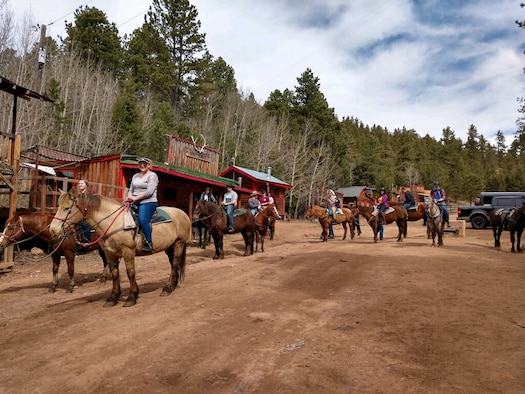 Participants of a Rec-On trip get ready to start a trail ride at Old Stage Road, Colorado Springs, Colorado, April 20, 2019. 50th Force Support Squadron coordinates trips like these for service members and their families to participate through their Rec-On program. To participate in the program, individuals must be active duty, reservist on orders or a family member. (U.S. Air Force photo by Julie Yim)