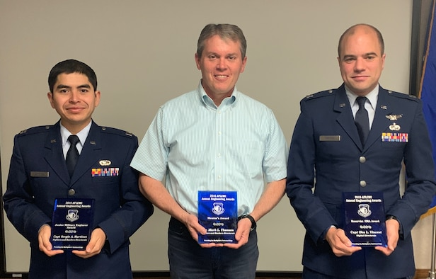 Capt. Sergio Martinez, Dr. Mark Thomsen and Capt. Oba Vincent, Air Force Life Cycle Management Center employees at Hill AFB, received awards at the AFLCMC Engineering Awards Ceremony.