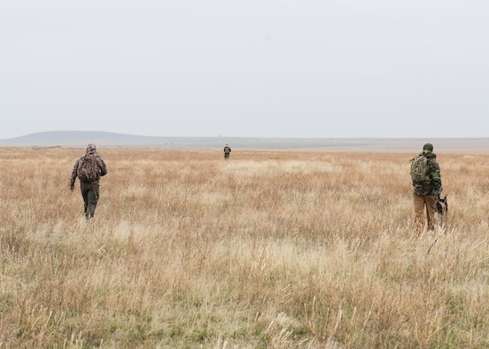 366th Security Forces simulate searching for downed air crew during the Gunfighter Flag training exercise, March 2, 2019 at sailor creek range. Pilots from Mountain Home Air Force base underwent refresher training on evading capture and aquiring recovery from Combat Search and Rescue Personnel during Gunfighter Flag. (U.S. Air Force photo by Senior Airman Tyrell Hall)