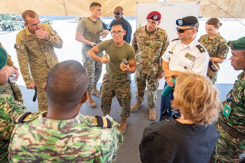 DILI, Timor-Leste (April 23, 2019) – U.S. Marine Corps L.Cpl. Thien Nguyen explains the process of examining chlorine levels in water sources to Kathleen Fitzpatrick, U.S. ambassador to Timor-Leste, and Timor-Leste Defense Force members during a subject matter expert exchange as part of Pacific Partnership 2019. Pacific Partnership, now in its 14th iteration, is the largest annual multinational humanitarian assistance and disaster relief preparedness mission conducted in the Indo-Pacific. Each year the mission team works collectively with host and partner nations to enhance regional interoperability and disaster response capabilities, increase security and stability in the region, and foster new and enduring friendships in the Indo-Pacific.