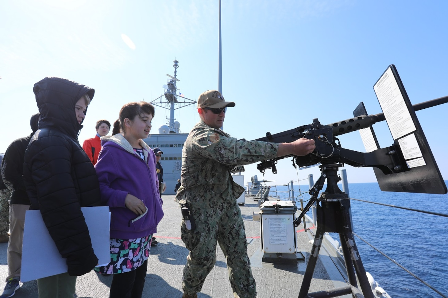 The Mount Whitney hosted families and friends during a scheduled transit from Augusta Bay, Italy to the flagship's forward-deployed homeport of Gaeta, Italy, April 17-19, 2019. Mount Whitney, forward-deployed to Gaeta, Italy, operates with a combined crew of U.S. Navy Sailors and Military Sealift Command civil service mariners.