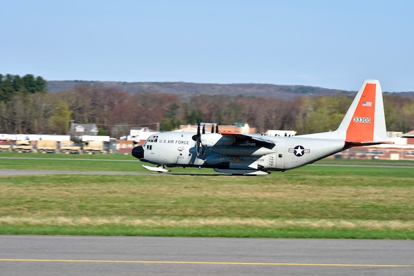 The first of several LC-130 Hercules from the 109th Airlift Wing New York Air National Guard base in Schnectady, New York, takes off to Greenland in support of the National Science Foundation research projects.