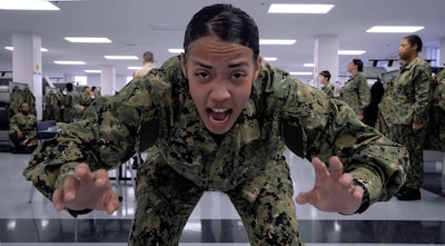 A recruit performing a exercise task