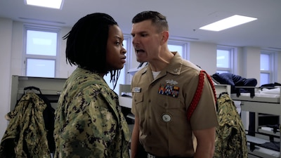 Recruit Division Commander shouting at a recruit