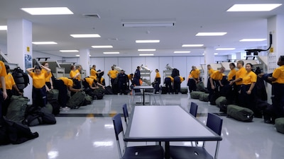Recruits changing their uniforms