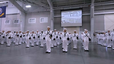 Sailors in their sailor white uniform at Boot Camp graduation
