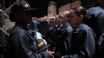 Recruits listening to Recruit Division Commander explaining