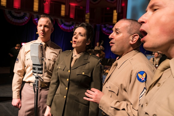 "Members of The U.S. Air Force Band perform during ""On the Air: A Glenn Miller Swing Celebration,"" a show featuring the music of big band legend Major Glenn Miller on April 2, 2019, at the Music Center at Strathmore in North Bethesda, Maryland. The U.S. Air Force Band partnered with Washington Performing Arts to present this concert highlighting the legacy of Major Miller's music and his leadership of the Army Air Force Band. This year marks the 75th anniversary of the disappearance of Miller's plane during World War II. (U.S. Air Force Photo by Master Sgt. Josh Kowalsky)"