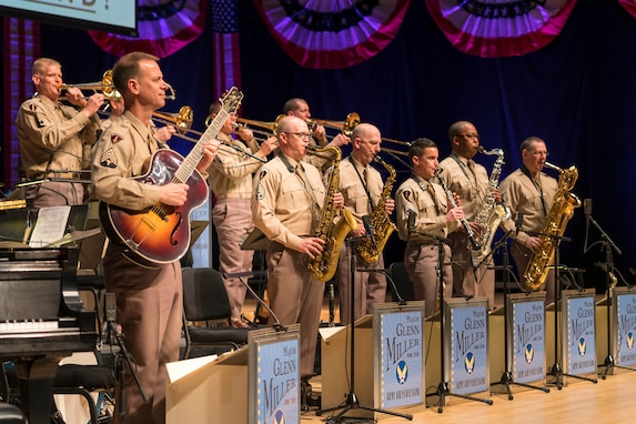 "Members of The U.S. Air Force Band perform the music of big band legend Major Glenn Miller on April 2, 2019, at the Music Center at Strathmore in North Bethesda, Maryland. The U.S. Air Force Band partnered with Washington Performing Arts to present this concert titled ""On the Air: A Glenn Miller Swing Celebration,"" which highlighted the legacy of Major Miller's music and his leadership of the Army Air Force Band. This year marks the 75th anniversary of the disappearance of Miller's plane during World War II. (U.S. Air Force Photo by Master Sgt. Josh Kowalsky)"