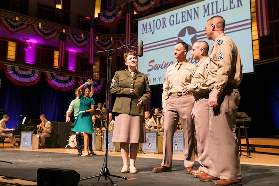 Members of The U.S. Air Force Band perform the music of big band legend Major Glenn Miller on April 2, 2019, at the Music Center at Strathmore in North Bethesda, Maryland. The U.S. Air Force Band partnered with Washington Performing Arts to present this concert highlighting the legacy of Major Miller's music and his leadership of the Army Air Force Band. This year marks the 75th anniversary of the disappearance of Miller's plane during World War II. (U.S. Air Force Photo by Master Sgt. Josh Kowalsky)