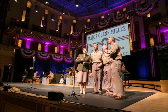 Members of The U.S. Air Force Band partnered with Washington Performing Arts and jazz vocalist Veronica Swift to present music of the late big band legend Major Glenn Miller on April 2, 2019, at the Music Center at Strathmore in North Bethesda, Maryland. The concert highlighted the legacy of Maj. Miller's music and leadership of the Army Air Force Band, and it coincided with the 75th anniversary of the disappearance of his plane somewhere over the English Channel. (U.S. Air Force Photo by Master Sgt. Josh Kowalsky)