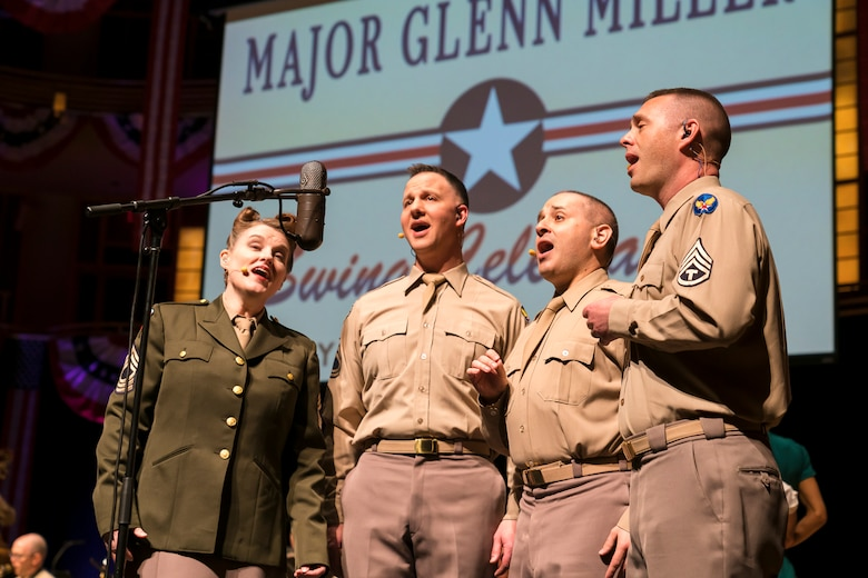 Members of The U.S. Air Force Band perform the music of big band legend Major Glenn Miller on April 2, 2019, at the Music Center at Strathmore in North Bethesda, Maryland. The U.S. Air Force Band partnered with Washington Performing Arts to present this concert highlighting the legacy of Major Miller's music and his leadership of the Army Air Force Band. The concert honored the 75th anniversary of the disappearance of Miller's plane over the English Channel during World War II. (U.S. Air Force Photo by Master Sgt. Josh Kowalsky)