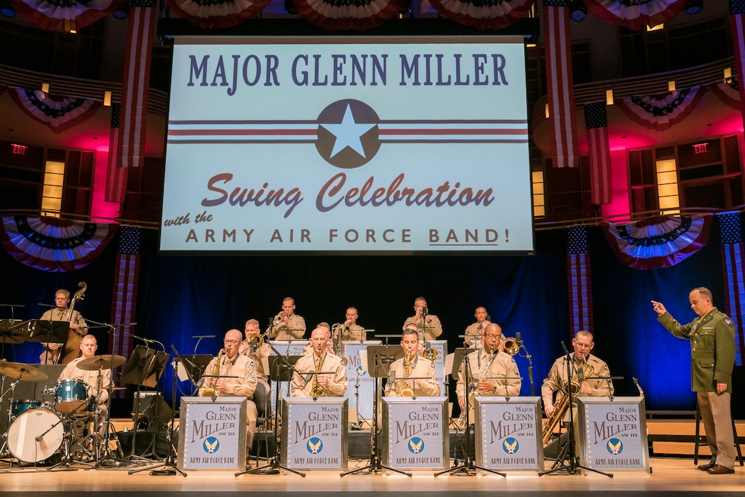 Col. Don Schofield conducts the Airmen of Note as they recreate the Major Glenn Miller Army Air Force Band on April 2, 2019, at the Music Center at Strathmore in North Bethesda, Maryland. The U.S. Air Force Band partnered with Washington Performing Arts to present this concert highlighting the legacy of Major Miller's music and his leadership of the Army Air Force Band. The concert honored the 75th anniversary of the disappearance of Miller's plane over the English Channel during World War II. (U.S. Air Force Photo by Master Sgt. Josh Kowalsky)