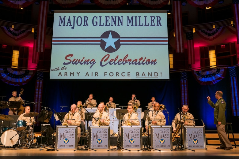 Col. Don Schofield conducts the Airmen of Note as they recreate the Major Glenn Miller Army Air Force Band on April 2, 2019, at the Music Center at Strathmore in North Bethesda, Maryland. The U.S. Air Force Band partnered with Washington Performing Arts to present this concert highlighting the legacy of Major Miller's music and his leadership of the Army Air Force Band. This year marks the 75th anniversary of the disappearance of Miller's plane during World War II. (U.S. Air Force Photo by Master Sgt. Josh Kowalsky)