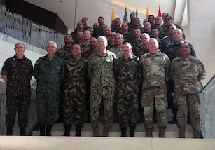 The Commander of U.S. Southern Command, Navy Adm. Craig Faller and U.S. Army South Commanding General, Maj. Gen. Mark Stammer, pose for a group photo with security leaders from Brazil, Colombia, Ecuador and Peru at the Multilateral Borders Conference 2019.