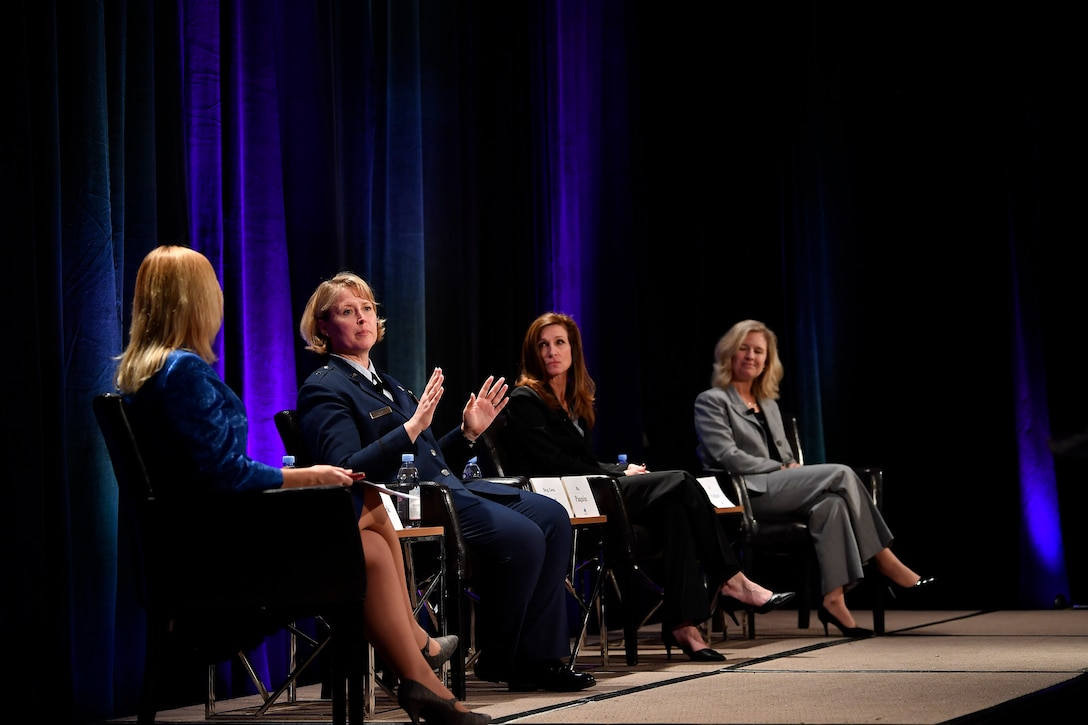 Brig. Gen. Deanna Burt, Director of Operations and Communications, Air Force Space Command, participates in a panel at the third Women's Global Gathering to discuss her struggles and successes navigating a career in which she was frequently the only woman in the room, Colorado Springs, Colorado, April 11, 2019. (U.S. Air Force photo by Staff Sgt. Dennis Hoffman)