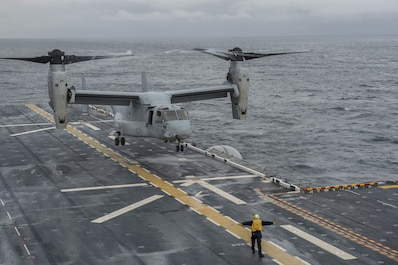 MV-22 Tackles Stormy Seas