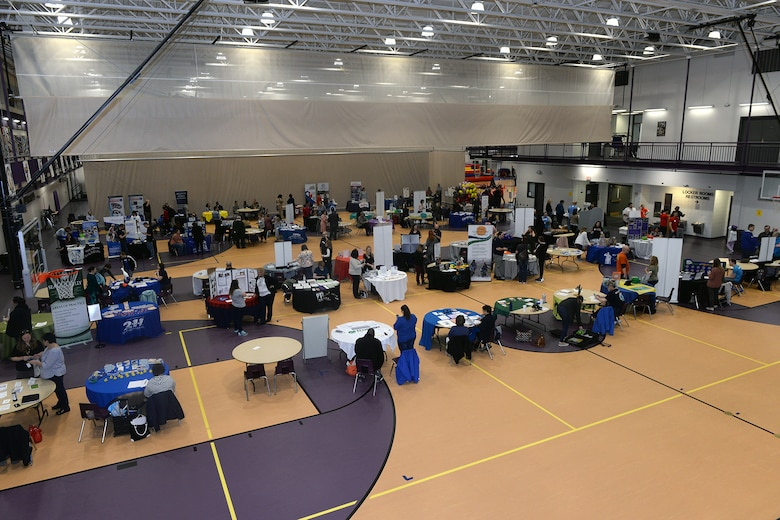 Members of the Offutt community attend the 6th Annual Special Needs Fair at the Bellevue Lied Center, Nebraska, April 9, 2019. The fair is open to all Exceptional Family Member Program families. (U.S. Air Force photo by Kendra Williams)