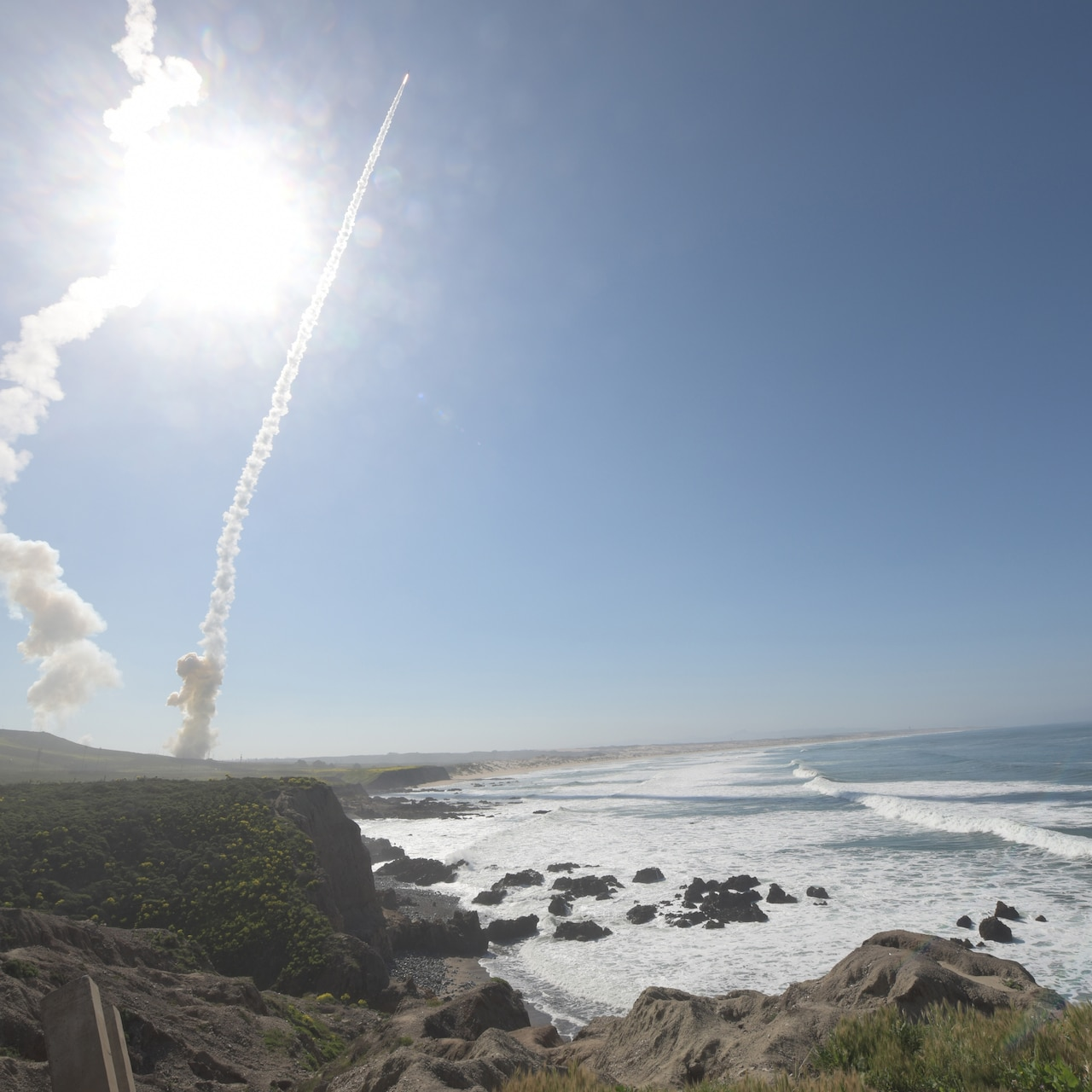 Missile launches into sky
